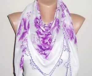 etsy, white scarf, and purple scarf image