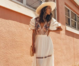 dress, hat, and maxi image