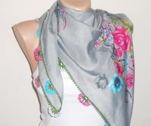 blue, cotton scarf, and etsy image