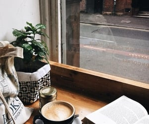 book, coffee, and street image