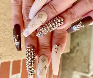 glitter, Louis Vuitton, and nails image