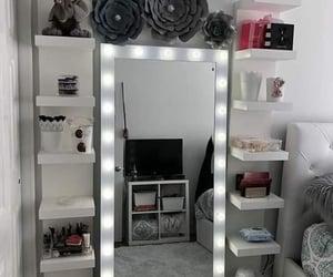 bedroom, grey, and mirror image