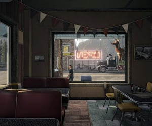 booth, bright falls, and diner image