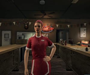 diner, red, and waitress image