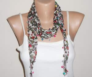 etsy, multicolor scarf, and green image
