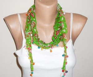 etsy, green scarf, and multicolor scarf image
