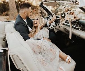 couple, happy, and wedding dress image