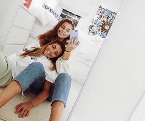 best friends, besties, and mirror selfie image