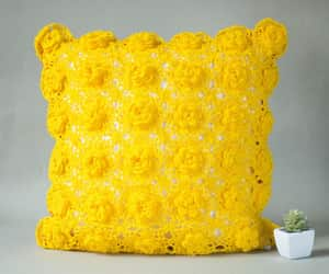 etsy, yellow pillow, and granny square image