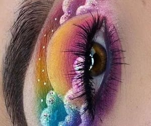 clouds, colorful, and eye makeup image