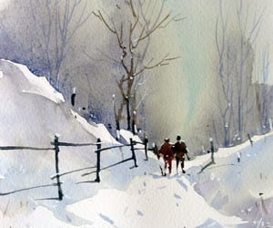 snow, watercolor, and winter image