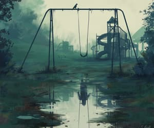 abandoned, swings, and ghost image