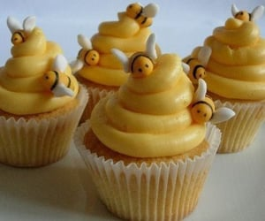 cupcake, bee, and yellow image