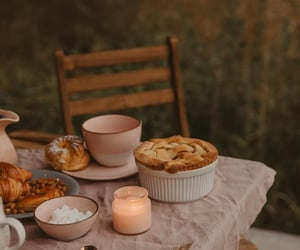 candle, autumn, and pie image