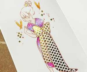 butterfly, kimono, and sketch image