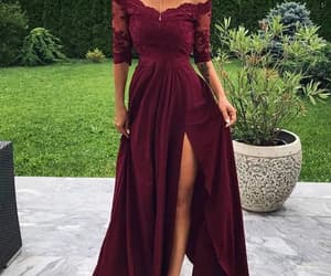 evening dress, prom dress, and burgundy prom dress image