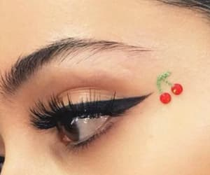 eyeliner, cherry, and make up image