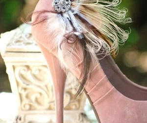 feathers, pink, and pumps image