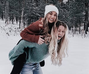 girls, winter, and friends image