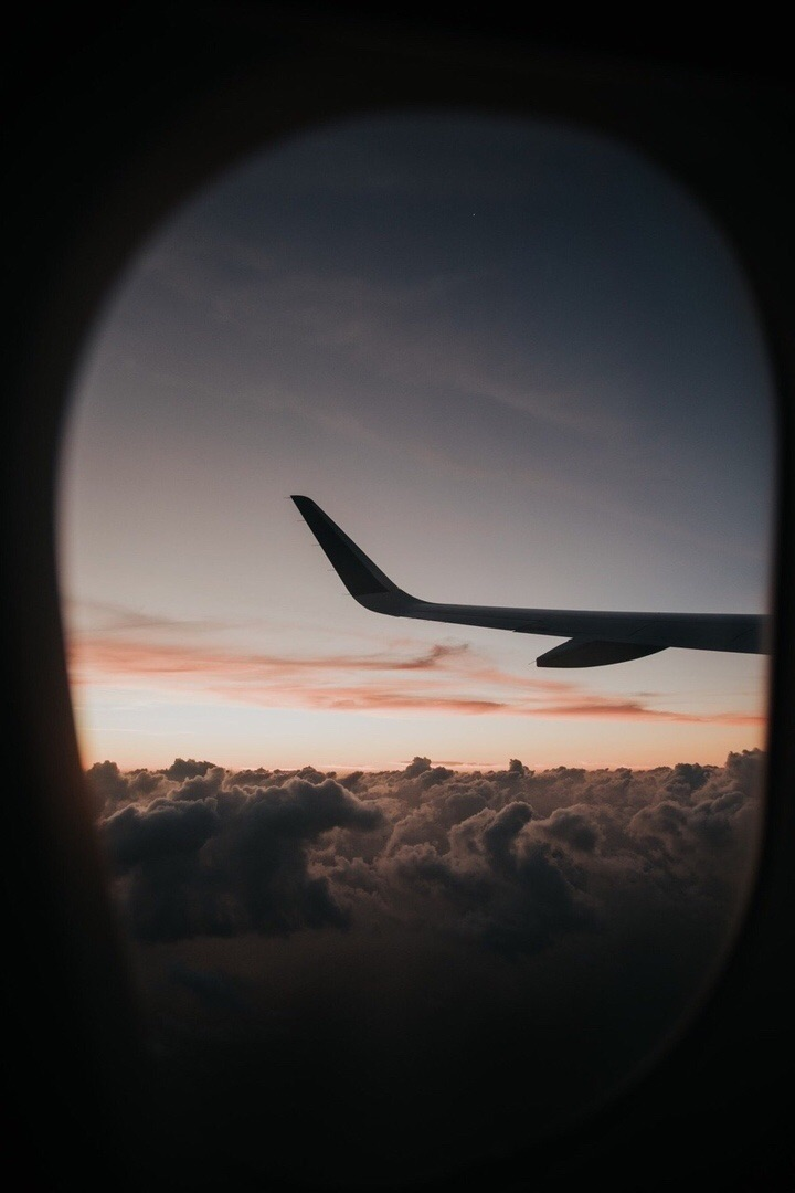 clouds, plane, and sunset image