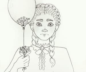 alone, balloon, and girl image