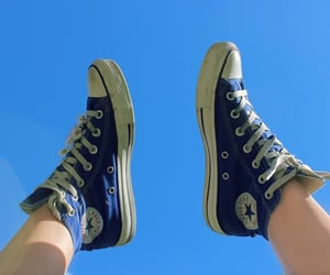 blue, converse, and sky image
