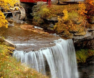 aesthetic, autumn, and waterfall image