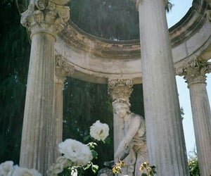 flowers, vintage, and statue image