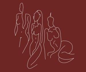 girl, maroon, and art image