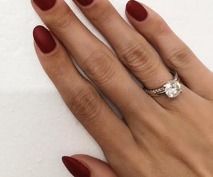 dark red, diamond, and nail polish image