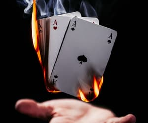 cards, fire, and game image