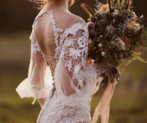 bouquet, sun, and woman image