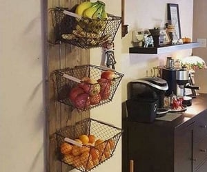 small kitchen, small apartment, and fruit basket image