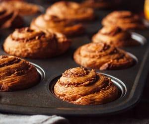 cake, food, and cinnamon rolls image