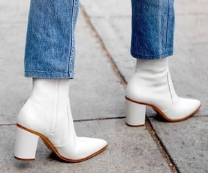 fashion, jeans, and white boots image