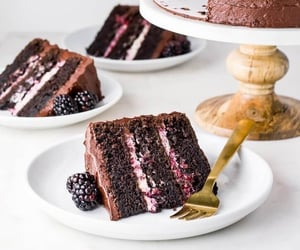 cake, blackberry, and chocolate image