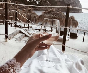 beach, wine, and summer image