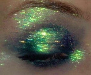 eye, glitter, and green image