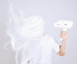 hair, hairdryer, and advertizing image
