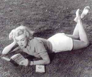 book, black and white, and Marilyn Monroe image