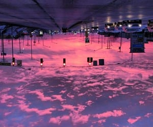 clouds, pink, and trafic image