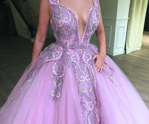 pink prom dress, ball gown prom dress, and lace applique prom dress image