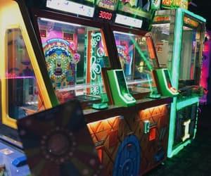 arcade, neon lights, and fun image