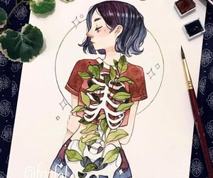 artist, girl, and skeleton image