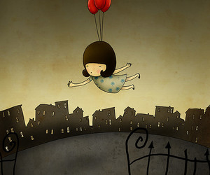 ballons, fly, and Darkness image