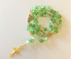 beaded necklace, customgift, and goldtone rosary image
