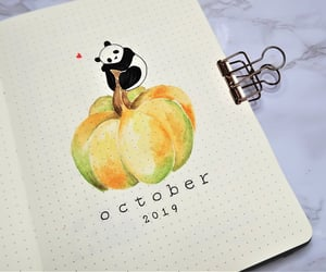 panda, pumpkin, and watercolor image