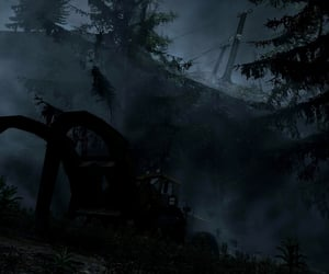 Darkness, fog, and eerie image