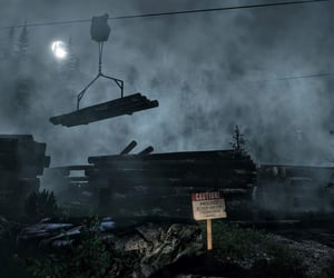 caution, eerie, and lumber yard image