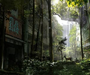 abandoned, city, and deer image